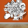 Drawn illustration on orange wall — Stock Photo #36250407