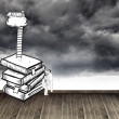 Two men climbing books over stormy sky — Stock Photo