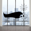 Superhero in room with big windows — Foto Stock