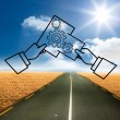 Cogs graphic over street — Stock Photo