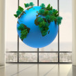 Earth floating in room — Stock Photo