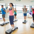 Instructor with fitness class performing step aerobics exercise with dumbbells — Stock Photo