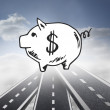Piggy bank over streets in sky — Stock Photo