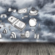 Stock Photo: Graphic on wall with stormy sky