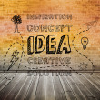 Idea graphic over brick lined wall — Stock fotografie