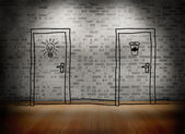 Two doors at brick lined wall — Stock Photo