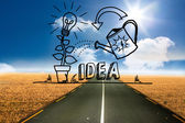 Growing idea graphic over street — Stock Photo