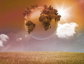 Digitally generated earth floating in air — Stock Photo