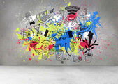 Grey wall with graphics and splashes — Stock Photo