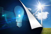Blue light bulb background over turbine background — Stock Photo