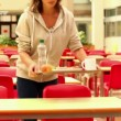Upset student eating lunch alone — Stock Video #36277929