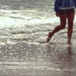 Stock Video: Womwalking at beach