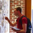 Stock Video: Student checking notice board carefully
