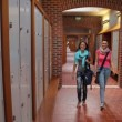Two students walking down hallway to locker — Stock Video