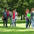 Wideo stockowe: Students flirting together outside