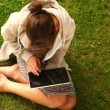 Student working with tablet pc sitting on lawn — Stock Video #36278961
