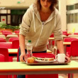 Unhappy student eating lunch alone — Stock Video #36279137