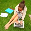 Student working with laptop sitting on grass — Stock Video #36279449