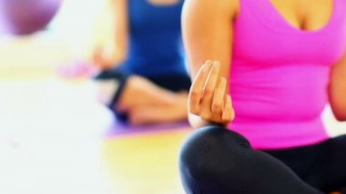 Meditating young women sitting on exercise mats — Stock Video