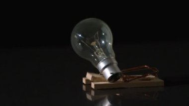 Mousetrap snapping on light bulb and destroying it — Stock Video