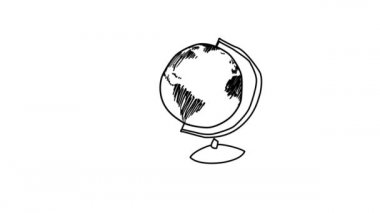 Animation of rotating globe transforming to a light bulb — Stock Video