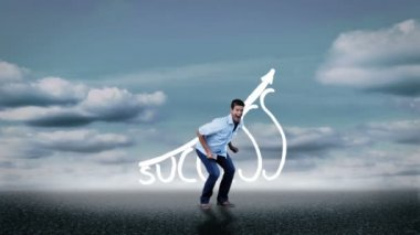 Cheerful casual man jumping in front of success graphic — Stock Video