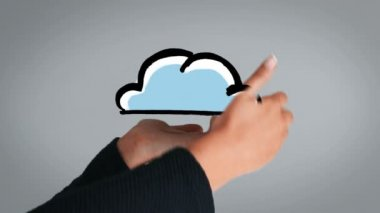 Hand presenting appearing and disappearing cloud — Stock Video