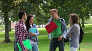 Students chatting in between classes outside — Stockvideo