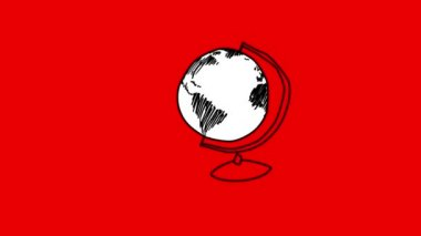 Animation of slowly appearing rotating globe — Stock Video