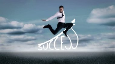 Handsome businessman jumping in front of success graphic — Stock Video