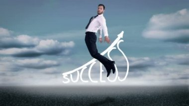 Beautiful young businessman jumping — Stock Video