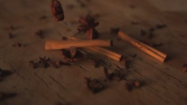 Star anise falling on table — Stock Video