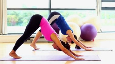 Slender fit women doing yoga on exercise mats — Stockvideo