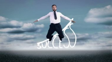 Businessman jumping in front of success graphic — Stock Video