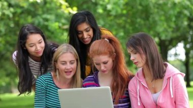 Female students looking at the laptop together outside — Stock Video