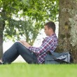 Foto Stock: Young student using his laptop to study outside