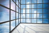 Cityscape seen through window — Stock Photo