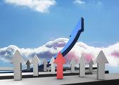 Rojas gris y azules flechas apuntando contra cielo — Foto de Stock