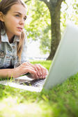 Young thinking student lying on the grass using her laptop — Stock Photo