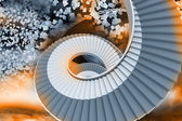 Winding staircase in the sky with flying papers — Stock Photo