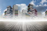 Piles of books against sky — Stock Photo