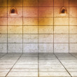 Stock Photo: Grey grid room with lights