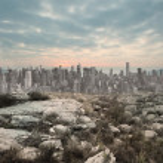 Serene landscape with city on the horizon — Stock Photo