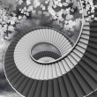 Winding staircase in sky with flying papers — Stockfoto #38464927