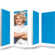 Blonde boy on abstract screen — Stock Photo