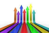 Colourful arrows pointing up — Stock Photo