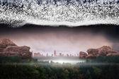Heldere sterren van energie over landschap — Stockfoto