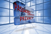 Privacy graphic on abstract screen in room — Stock Photo