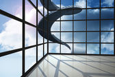 Staircase in blue sky seen through window — Stock Photo