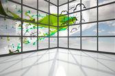 Documentos comerciales volando por ventana — Foto de Stock